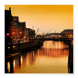 Premium poster  Hamburg harbor sunset - bildpics