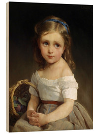 Wood print  Girl with plums Basket - Emile Munier