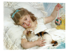 Acrylic print  Little girl with kitten - Emile Munier