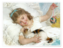Poster Little girl with kitten
