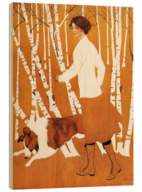Wood print  Birches - Clarence Coles Phillips