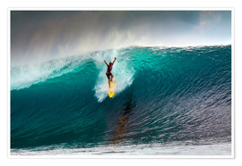 Premium poster  Extreme surfing huge wave - Mentawai Islands - Paul Kennedy