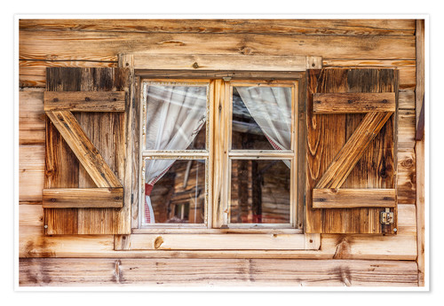 Premium poster Window of alps cabin, South Tyrol (Italy)