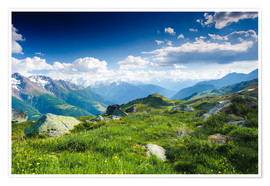 Premium poster  Mountain panorama from Fiescheralp, Switzerland - Peter Wey