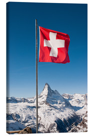Canvas print  Matterhorn with swiss flag. Zermatt, Switzerland. - Peter Wey