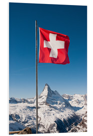 Foam board print  Matterhorn with swiss flag. Zermatt, Switzerland. - Peter Wey