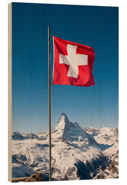 Wood print  Matterhorn with swiss flag. Zermatt, Switzerland. - Peter Wey