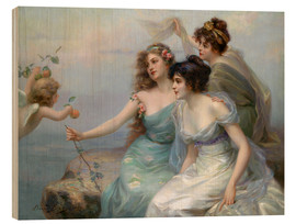 Wood print  The Three Graces - Edouard Bisson