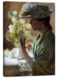 Canvas print  Lady with a bouquet (Snowballs) - Charles Courtney Curran