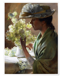 Premium poster Lady with a bouquet (Snowballs)