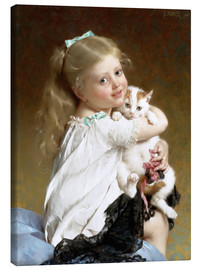 Canvas print  Girl with Kitten - Emile Munier