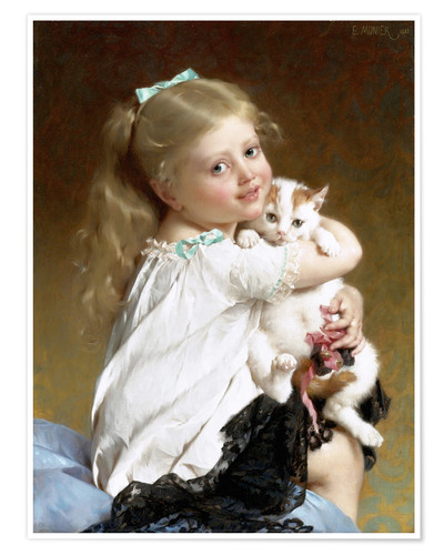 Premium poster Girl with Kitten