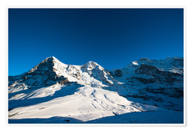 Premium poster Panoramic view from Lauberhorn with Eiger Mönch and Jungfrau mountain peak