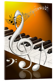 Acrylic print  dancing notes with clef and piano keyboard - Kalle60