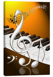 Canvas print  dancing notes with clef and piano keyboard - Kalle60