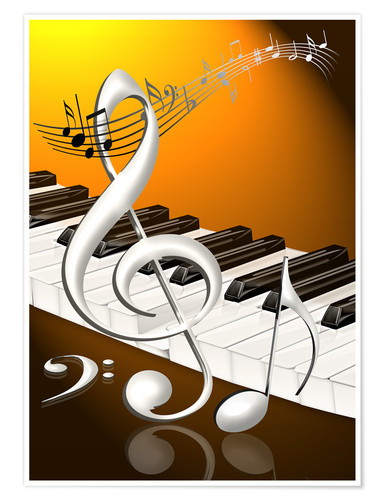 Premium poster dancing notes with clef and piano keyboard