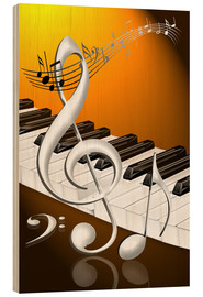 Wood print  dancing notes with clef and piano keyboard - Kalle60