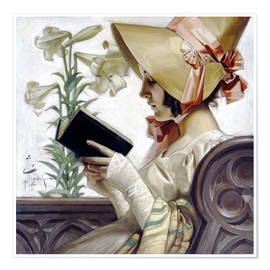 Premium poster  Lady with a book - Joseph Christian Leyendecker