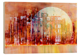 Wood print  Space City III - Gerhard Kraus
