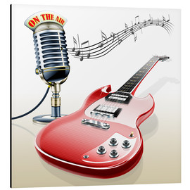 Aluminium print  Electric guitar with microphone and music notes - Kalle60