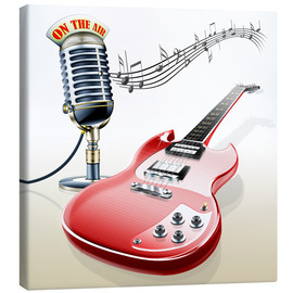 Canvas print  Electric guitar with microphone and music notes - Kalle60