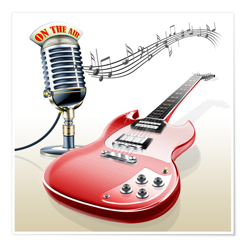 kalle60 electric guitar with microphone and music notes poster posterlounge. Black Bedroom Furniture Sets. Home Design Ideas