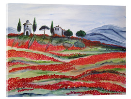 Acrylic print  Flowering/Blooming Tuscany (Val d'Orcia, Chapel of Vitaleta) - Christine Huwer