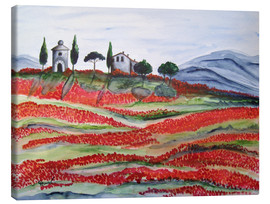 Canvas print  Flowering/Blooming Tuscany (Val d'Orcia, Chapel of Vitaleta) - Christine Huwer