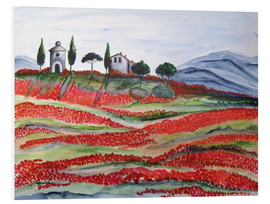 Foam board print  Flowering/Blooming Tuscany (Val d'Orcia, Chapel of Vitaleta) - Christine Huwer