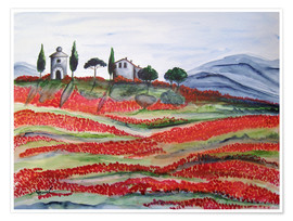 Premium poster  Flowering/Blooming Tuscany (Val d'Orcia, Chapel of Vitaleta) - Christine Huwer