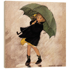 Wood print  Rainy day - Jessie Willcox Smith