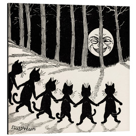 Aluminium print  Cats dancing at full moon - Louis Wain