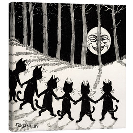 Canvas print  Cats dancing at full moon - Louis Wain