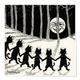 Poster  Cats dancing at full moon - Louis Wain