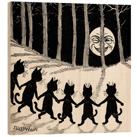 Wood print  Cats dancing at full moon - Louis Wain