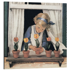 Aluminium print  Potting tulips - Jessie Willcox Smith