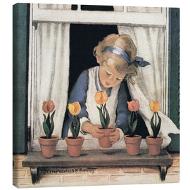 Canvas  Potting tulips - Jessie Willcox Smith