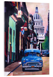 Acrylic glass  Cuban Oldtimer Street Scene in Havanna Cuba with Buena Vista Feeling - M. Bleichner