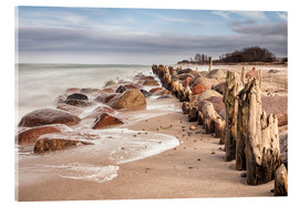 Acrylic glass  Groyne and stones on shore of the Baltic Sea - Rico Ködder