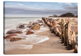 Canvas print  Groyne and stones on shore of the Baltic Sea - Rico Ködder