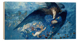 Wood print  Night with her train of stars - Edward Robert Hughes
