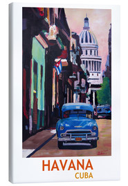 Canvas  Cuban Oldtimer Street Scene in Havana Cuba with Buena Vista Feeling Poster - M. Bleichner