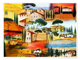 Premium poster  Tuscany Collage - Christine Huwer