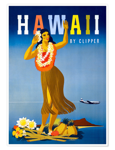 Poster Hawaii by Clipper vintage travel