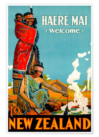 Premium poster  Haere Mai welcome to New Zealand