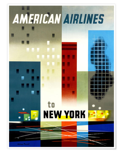 Premium poster American Airlines to New York