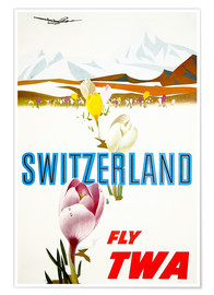 Premium poster Switzerland fly with TWA