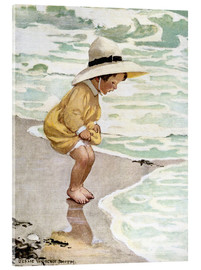 Acrylic print  A little girl playing in the waves - Jessie Willcox Smith