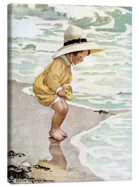 Canvas print  A little girl playing in the waves - Jessie Willcox Smith