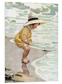 Foam board print  A little girl playing in the waves - Jessie Willcox Smith